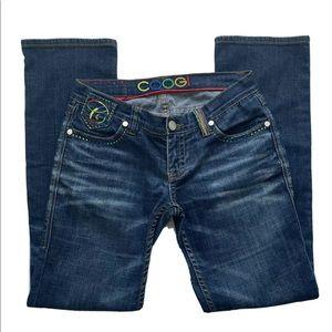 COOGI Dark Wash Rainbow Embroidered Bootcut Jeans